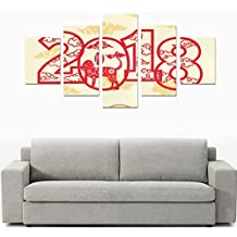 Happy Chinese New Year 2018 Year of the Dog 5 Piece Wall Art Painting Prints On Canvas Home Decor for Living Room Kitchen Decoration(12x15inch 2pcs, 12x23inch 2pcs, 12x31inch 1pc)