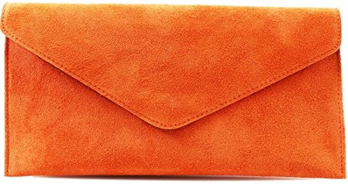 Envelope Handbag Cross Party Suede Clutch Leather Wedding Over Bags Bag Purse Italian Orange Genuine zFYqtt
