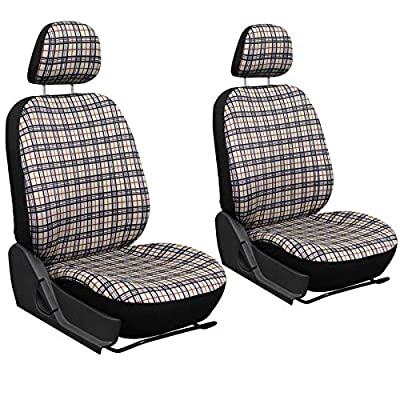 Motorup America 6pc Set Auto Seat Cover - Fits Select Vehicles Car Truck Van SUV - Yellow Plaid