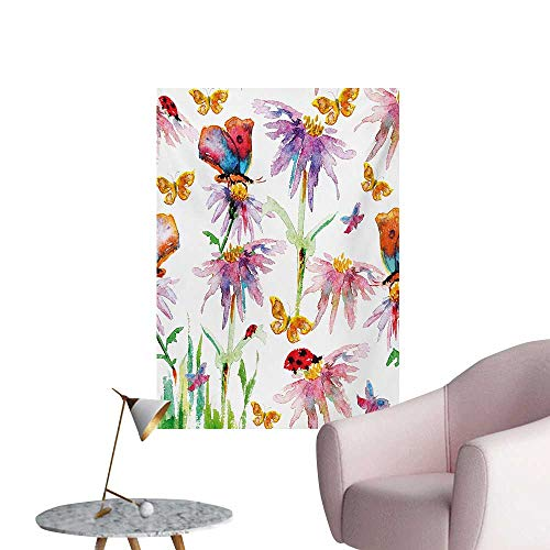 Shabby Chic Wallpaper Watercolor Hand Painting Image of Flowers Buds Leaves Butterfly Ladybug ArtMulticolor W32 xL36 Custom Poster]()
