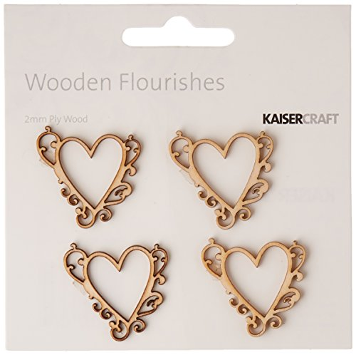 Kaisercraft Laser Cut Wood Flourish, Flourish Hearts, - Laser Heart Cut