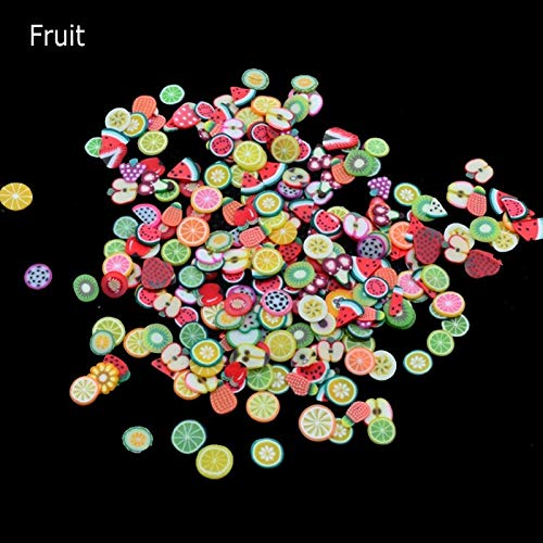 1000 Pcs/Lot Nail Slices Fruit Feather Shape Mixed Polymer Clay Canes Nail Stickers Gel Polish DIY Nail Art Tips Decoration 2-Fruit by MJQ