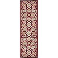 Safavieh Easy to Care Collection EZC454A Hand-Hooked Red Runner (26 x 8)