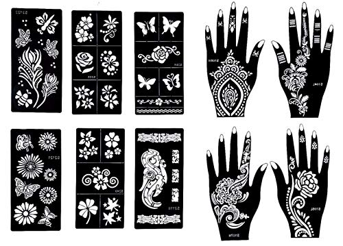 Gilded Girl Reusable Stencils for Henna Tattoo (10 Sheets) Beautiful Hands and Body Art Temporary Tattoo Templates, Airbrush/Face paint/Glitter/Self-Adhesive Flower, Butterfly Designs