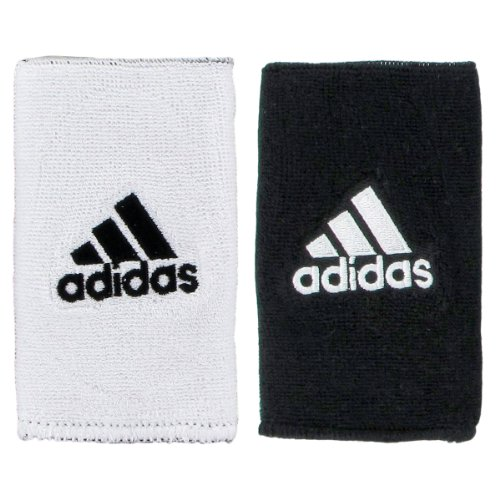 adidas Interval Large Reversible Wristband, White/Black / Black/White, One Size Fits All