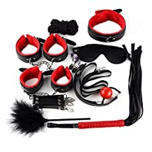 WilRox 10 Pcs/set Restraints Bondage Fetish Kit Sex Handcuffs Nipple Clamp Whip Mouth Gag Leather Blindfold Eyepatch Set for Adult Games(Red)