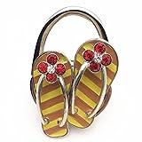 Porte Sac Pliable en Forme des Chaussures Sac à Main Crochet en Mental Pliable Strass Cintre - Jaune