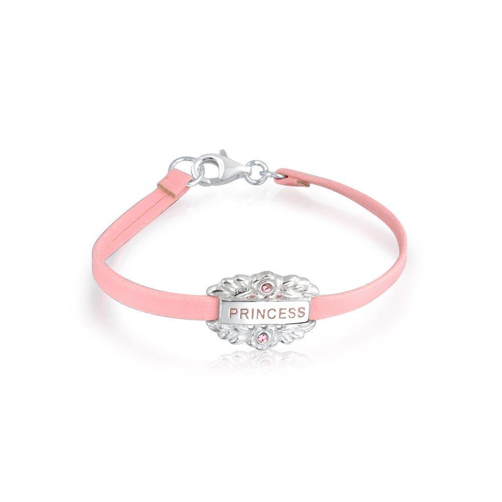 Petite Princesse Rose Message Mot C/œur Dangle Charm Bangle Bracelet en Cuir pour Les Filles en Argent Sterling 925