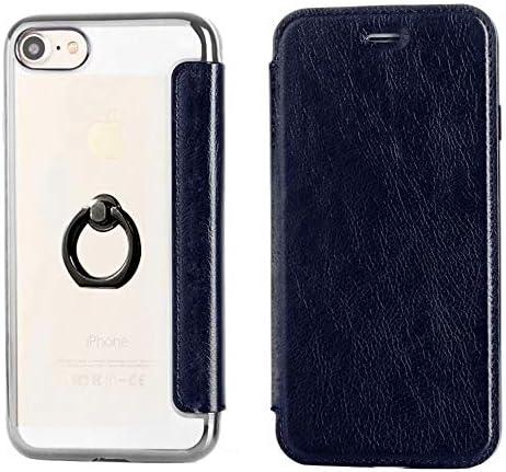 HelloGO iphone7ケース 手帳型ケース スタンド機能 耐衝撃 軽量 傷防止 超薄 携帯カバー カードポケット付き おしゃれ(ネイビー)