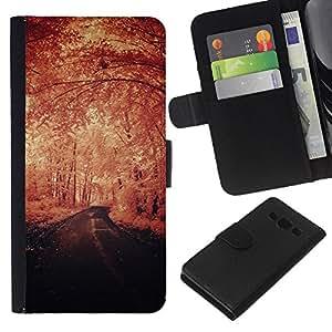 All Phone Most Case / Oferta Especial Cáscara Funda de cuero Monedero Cubierta de proteccion Caso / Wallet Case for Samsung Galaxy A3 // Winter Vignette Nature Freedom Road