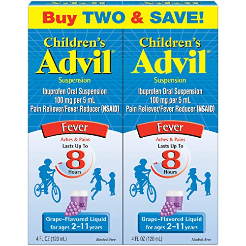 Childrens Advil Suspension 100mg Ibuprofen Fever Reducer/Pain Reliever, Grape-Flavored, 4 fl oz (Pack of 2)