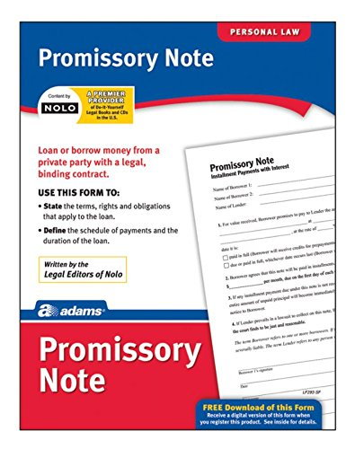 Adams Promissory Note, Forms and Instructions (LF293) ()