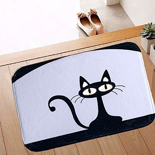 Bazaar 40x60cm Coral Fleece Black Cat Pattern Non-slip Floor Mat Bathroom Kitchen Bedroom Doormat Carpet Big Bazaar