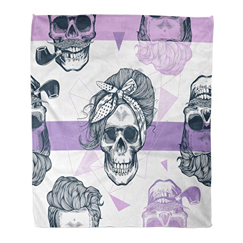 Emvency Throw Blanket Warm Cozy Print Flannel Pop Skeleton Womens Heads Scarf and Hairstyle Against Triangle Purple Comfortable Soft for Bed Sofa and Couch 50x60 -