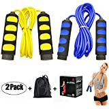 2 Pack Speed Kids Jump Ropes, Ponydash Lightweight &Adjustable & Durable Fitness Jumping Rope-Exercise Skipping Rope for Women Men Adult-Foam Grips Handles for Boxing, MMA, Fitness, Workout, Crossfit