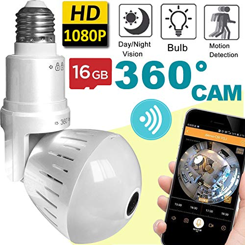 (2019 Bulb WiFi IP Camera Wireless Fisheye Spy Hidden Cameras 360° Panoramic for Home Security System Baby Nanny Pet Indoor Night Vision Motion Detection Alarm Smart Home Gifts [Free 16GB SD Card ])