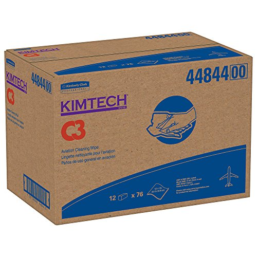 Kimtech C3 Aviation Cleaning Wipes (44844), Quarterfold, Surface Prep Wiping & Cleaning Solutions, Solvent Wipers, White, 76 Sheets / Pack, 12 Packs, 912 Sheets / Case