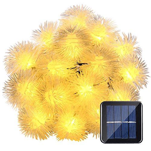 LuckLED Chuzzle Ball Solar String Lights, 23ft 50 LED Halloween Decorative Solar Lights for Outdoor, Home, Lawn, Garden, Patio, Party and Holiday Decorations(Warm White)