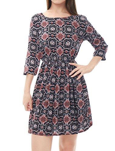 Black Dress Elastic Floral Knee Print Allegra Women's Waist Over Line 4 3 K Sleeves fBHF6H