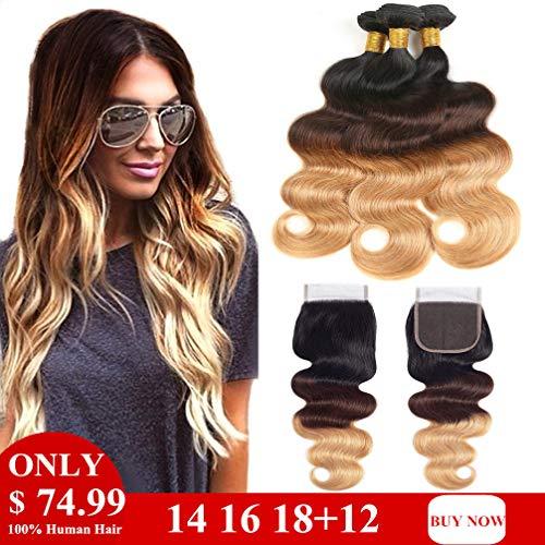 Ombre Bundles with Closure Body Wave 3 Bundles 10A Brazilian Virgin Human Hair Bundles with 4X4 Lace Closure Free Part (16 18 20 with 14 Inch Closure, - Human Hair Ombre Weave