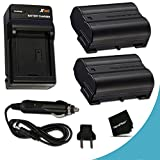 nikon battery d7000 - 2 High Capacity Replacement Nikon EN-EL15 Batteries And 1 AC/DC Quick Charger Kit f/ Nikon D750 Nikon D7200 D7100, D7000, D810, D810A, D800, D800E, D600, D610, 1V DSLR Cameras