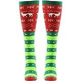 Gmark Women's Winter Warm Socks Stocking Filler Christmas Gift Elk Snow And Love