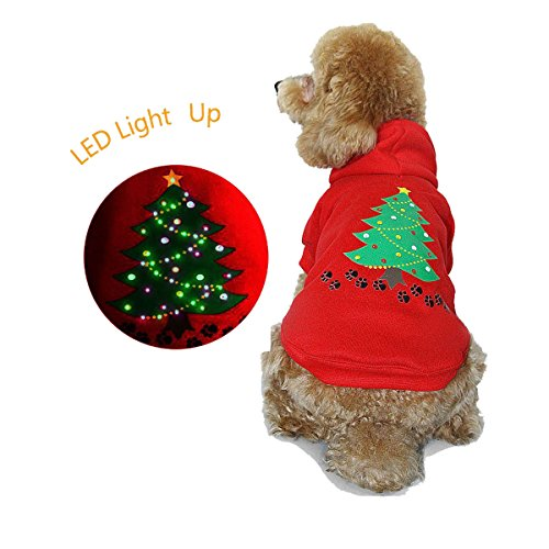 royalwise Light up Dog Shirt Costume Xmas Tree Pet LED Clothes Large Dog Hoodie Holiday Pet Sweater for Medium Dogs (Red, -