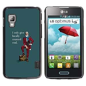 TopCaseStore / la caja del caucho duro de la cubierta de protección de la piel - Local Buy Funny Hipster Lifestyle Beard Man Coal - LG Optimus L5 II Dual E455 E460