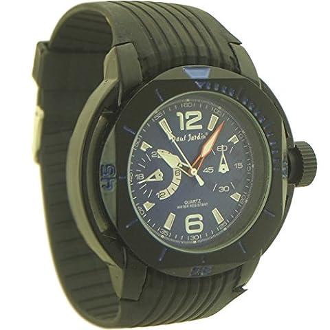 Paul Jardin Men's Rubber Quartz Chronograph Sport Watch black and blue dial - 5 (Paul Jardin Watch Quartz)