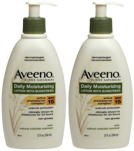 Aveeno Daily Moisturizing Lotion with Sunscreen, SPF 15-12 oz - 2 pk
