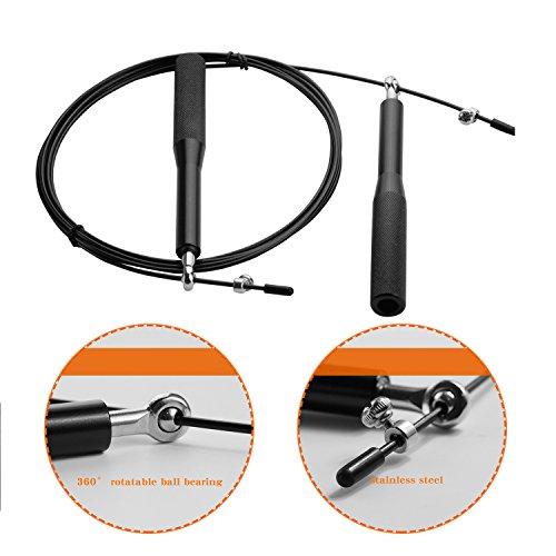 IVIM Speed Rope Springseil, Stahlseil Jump Rope mit 2 Verstellbaren Stahlseile, Profi Stahlkugellager, Anti-Rutsch Griffe und Tragbare Beutel für Crossfit, Fitness für Erwachsene, Kinder Blau