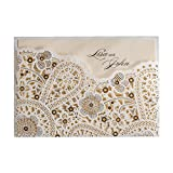 Wishmade 50X Laser Cut Wedding Invitations Cards Kit For Birthday Party Events Engagement Bridal Shower CW5181