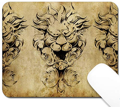 MSD Mouse Pad with Design - Non-Slip Gaming Mouse Pad - Image 10425453 Tattoo Art Sketch of a Gargoyle Over Vintage Background]()