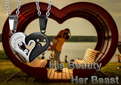 LOYALLOOK 2pcs Stainless Steel Mens Womens Couple Necklace Pendant His Beauty Her Beast Matching Necklace