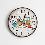 Wawoo Retro Vintage European Style Happy Owl Family Wooden Wall Clock, Silent Sound Quartz Movement Wall Hanging Wood Clock, Family Animated Cartoon Owls Wall Clock for Home Decoration