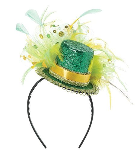 Lady Hat Luck Costume (St. Patrick's Day Feathered Glitter Top Hat Headband Costume Party Head Wear Accessory, Multi Color, 11
