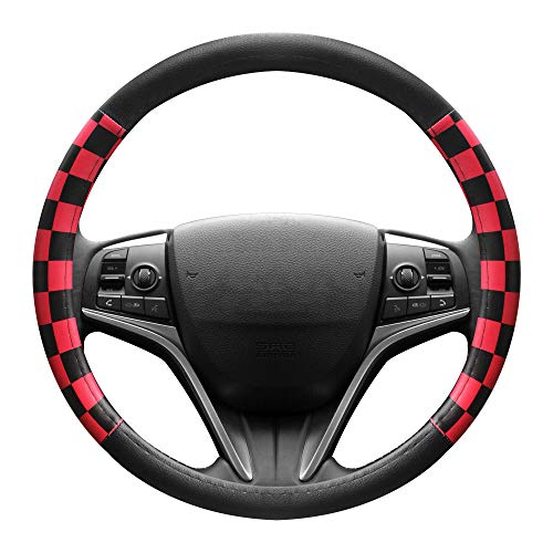 (FINEX PU Leather Checker Flag Black & Red Car Steering Wheel Cover Auto Car Accessories)