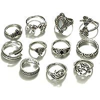Lanhui 11pcs/Set Women Bohemian Vintage Silver Stack Rings Above Knuckle Rings (Silver, 11pcs)
