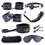 8 pcs Adult Costume Restraint Kit Leather Adjustable Handcuffs Whip Novelty Toy for Couple(Black)