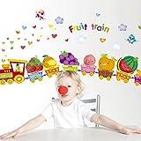 fruit border sticker - ZLJTYN Removable Wall Sticker Children'S Room Kindergarten Wall Decoration Wallpaper Border Wall Borders Sticker Cartoon And Animation Fruit Train 115X50Cm
