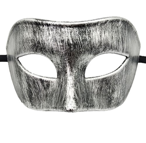 Coolwife Mens Masquerade Mask Greek Roman Party Mask Mardi Gras Halloween Mask (A Antique Black Silver) -