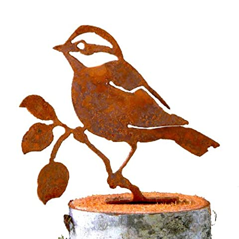 Elegant Garden Design Black-Capped Chickadee, Steel Silhouette with Rusty Patina (Bird Post)