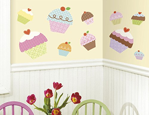 New Large CUPCAKES WALL STICKERS Girls Bedroom Baby Nursery or Kitchen - Wall Cupcake Stickers