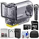 Sony MPK-AS3 Action Cam Underwater Marine Housing Case (197 ft./ 60m) with 64GB Card + LED Torch + Battery + Charger + Case + Kit for HDR-AS15, HDR-AS20, HDR-AS30V, HDR-AS100V, HDR-AS200V Camcorders