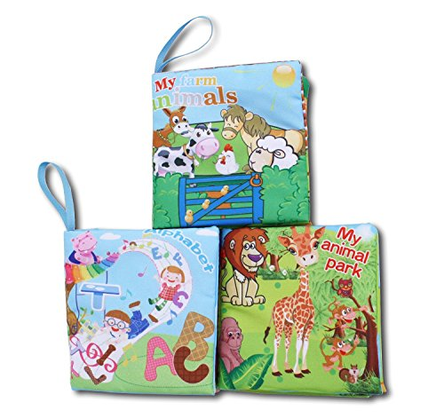 First Year Soft Cloth Baby Books for Infants - Set of 3 - Br