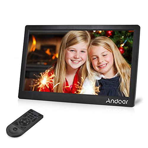 Andoer 17inch Digital Photo Frame Full View IPS Screen 1920 1080 HD Advertising Machine Support Shuffle Play with Remote Control Christmas Birthday Gift (Black) by Andoer