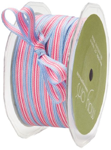 May Arts 3/8-Inch Wide Ribbon, Light Blue and Fuchsia Grosgrain Stripe by May Arts