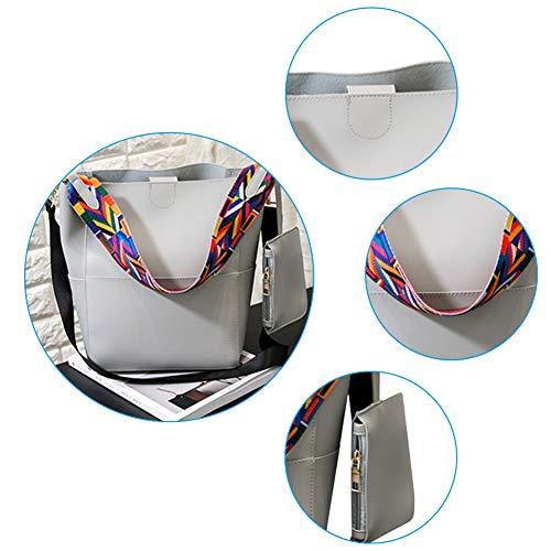 singolo tessuto borsa spalla benna pezzi insieme due pu bianco color Charma S cucire diagonale Grigio croce crema borsetta zn0H8