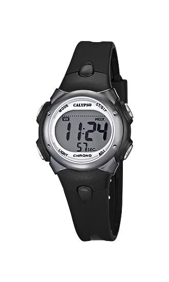 Reloj Digital para Chicos con Pantalla Digital LCD con Esfera y Correa de plástico de Color Negro K5609/6 de la Marca Calypso: Amazon.es: Relojes