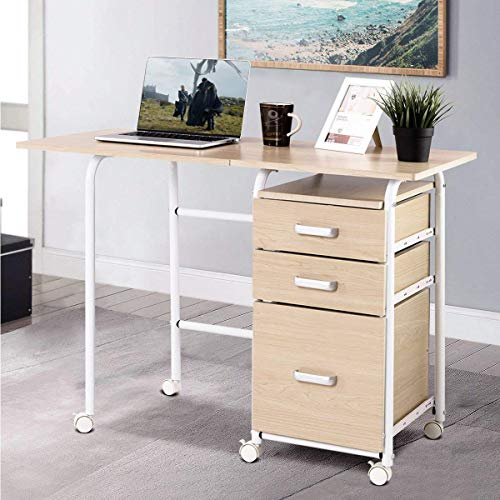 PATIOJOY Folding Computer Desk Wheeled Home Office Furniture with 3 Drawers Laptop Desk Writing Table Portable Dome Apartment Space Saving Compact Desk for Small Spaces (As pic) ()